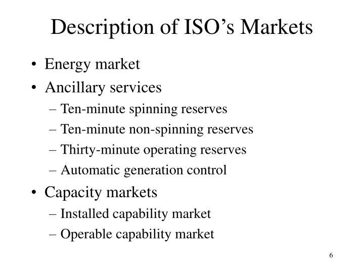 Description of ISO's Markets