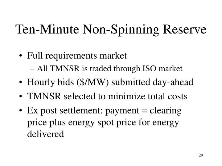 Ten-Minute Non-Spinning Reserve