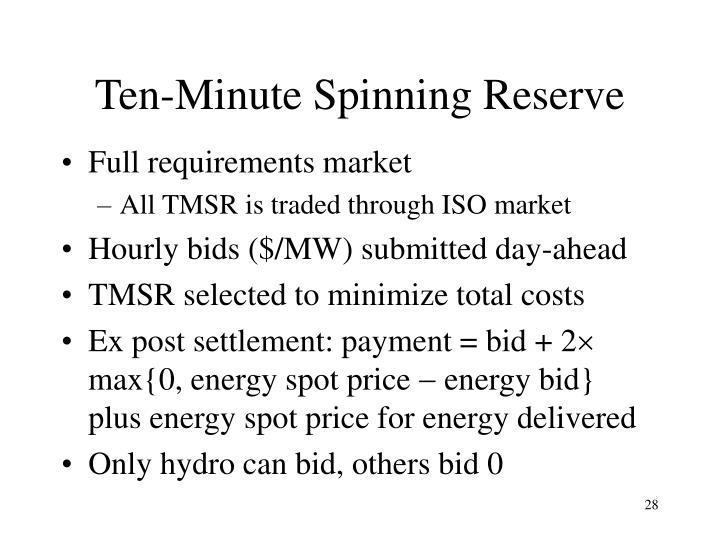 Ten-Minute Spinning Reserve