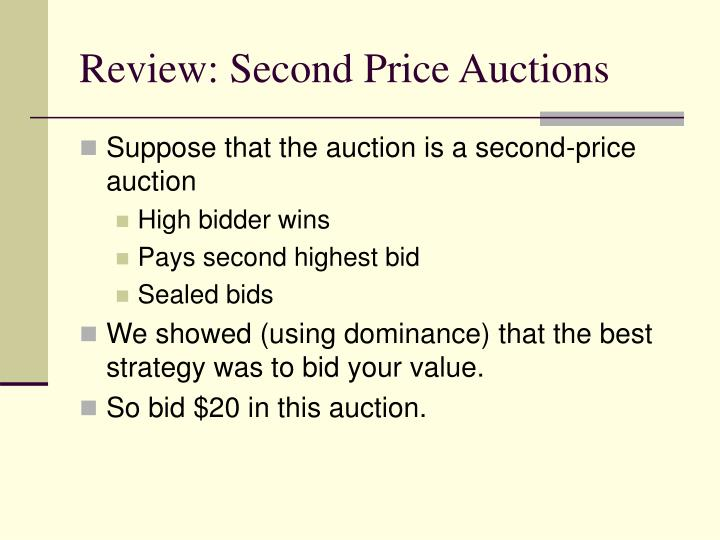 Review: Second Price Auctions