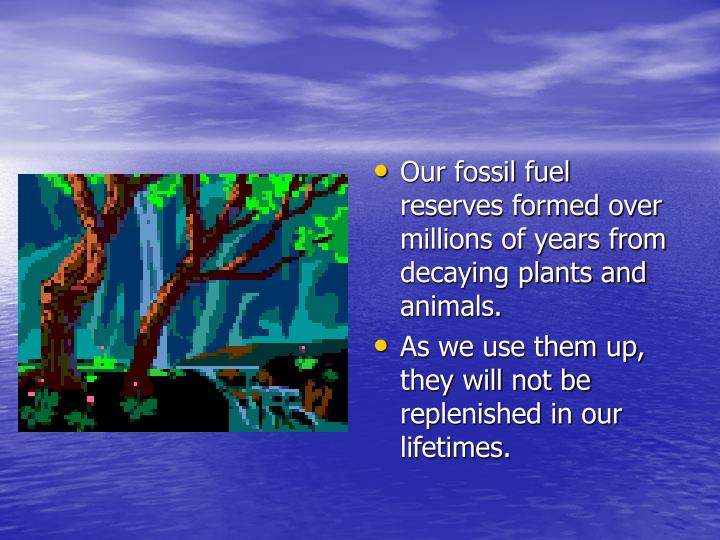 Our fossil fuel reserves formed over millions of years from decaying plants and animals.