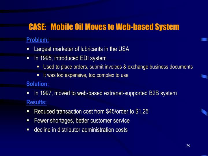 CASE:   Mobile Oil Moves to Web-based System