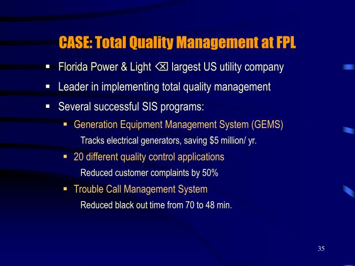 CASE: Total Quality Management at FPL