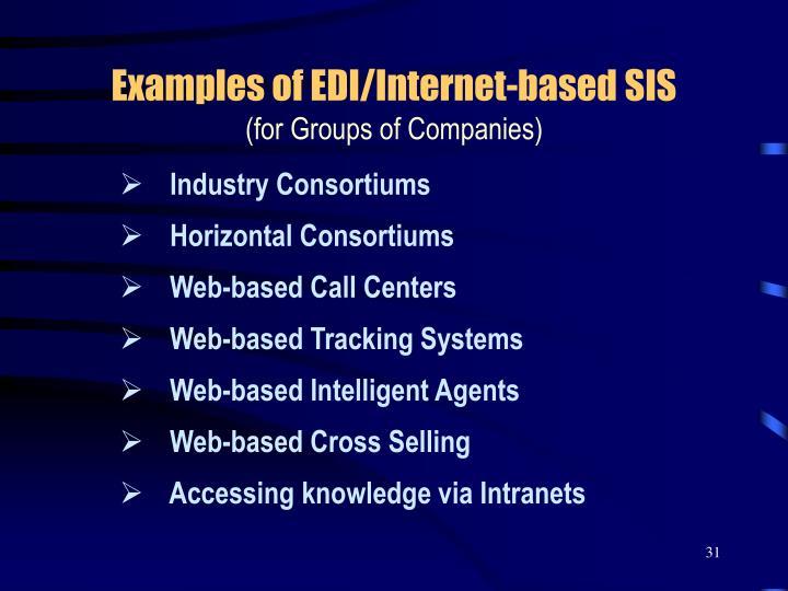 Examples of EDI/Internet-based SIS