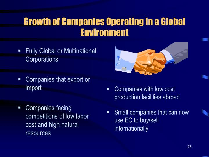 Growth of Companies Operating in a Global Environment