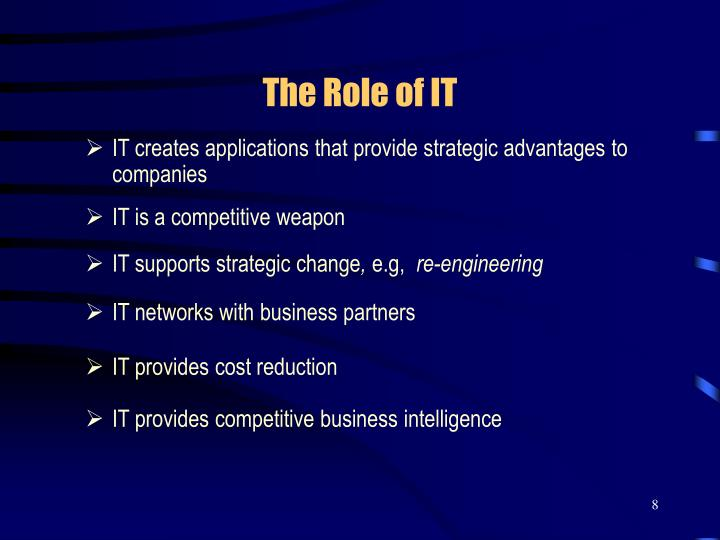 IT creates applications that provide strategic advantages to companies