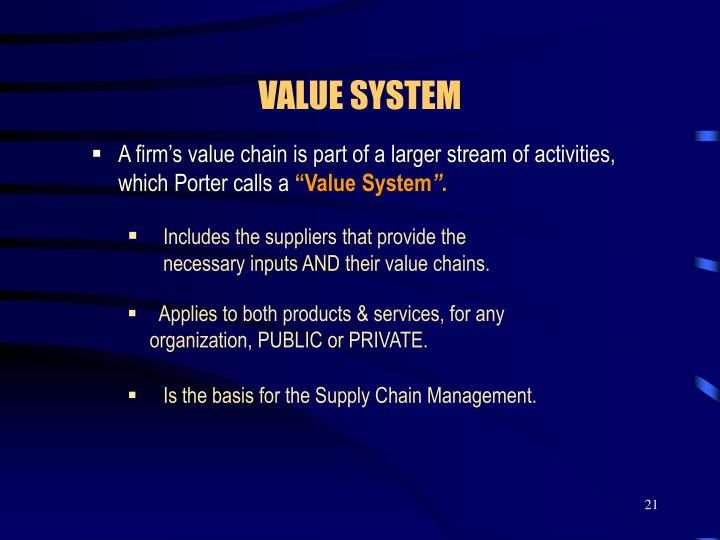 A firm's value chain is part of a larger stream of activities, which Porter calls a