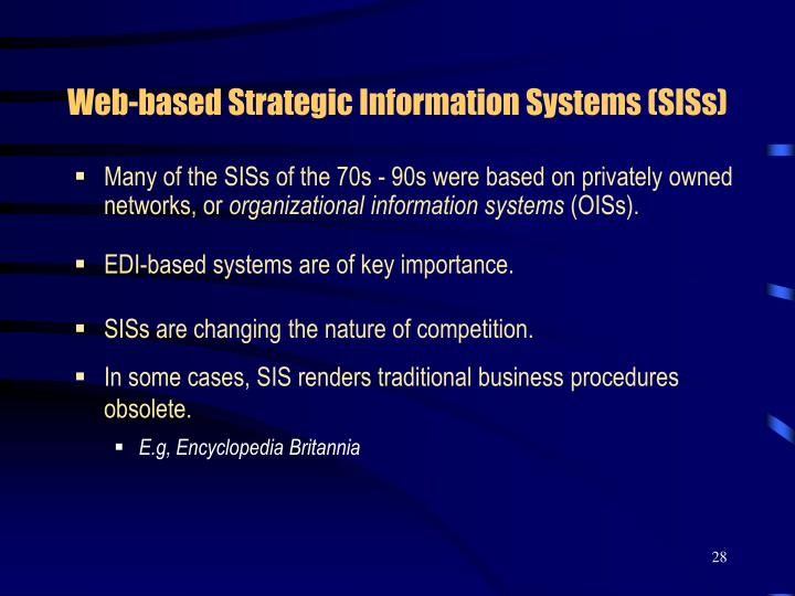 Web-based Strategic Information Systems (SISs)