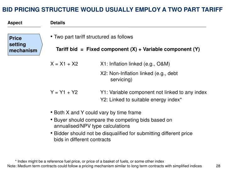 BID PRICING STRUCTURE WOULD USUALLY EMPLOY A TWO PART TARIFF