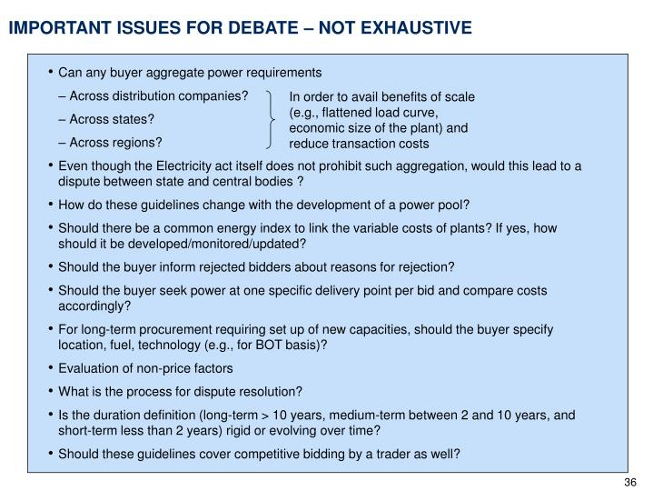 IMPORTANT ISSUES FOR DEBATE – NOT EXHAUSTIVE
