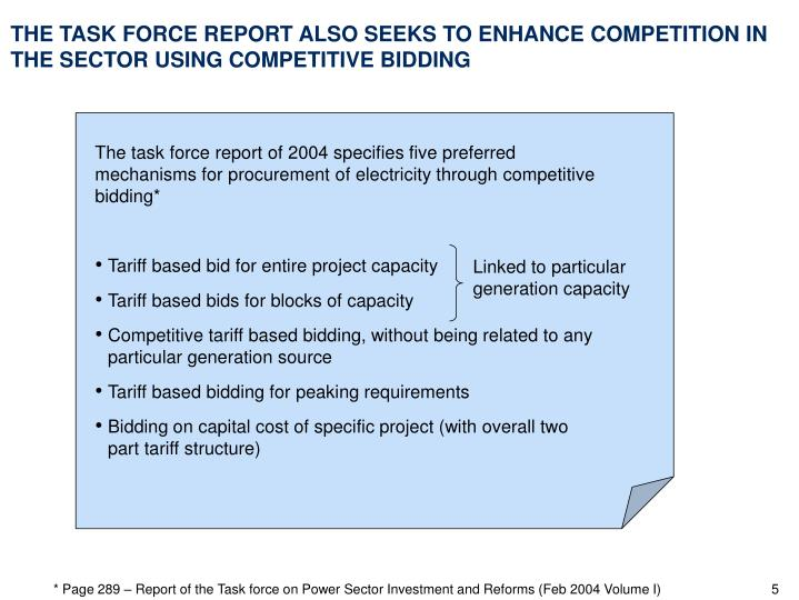 The task force report of 2004 specifies five preferred mechanisms for procurement of electricity through competitive bidding*