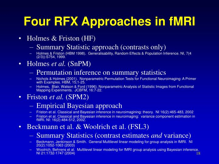 Four RFX Approaches in fMRI