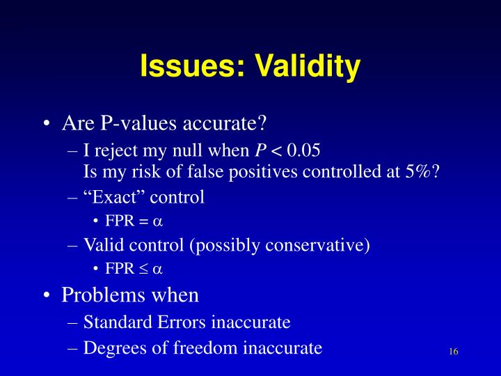 Issues: Validity