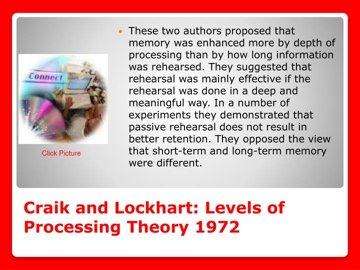 Craik and Lockhart: Levels of Processing Theory 1972