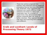 craik and lockhart levels of processing theory 1972