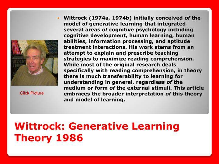 Wittrock: Generative Learning Theory 1986