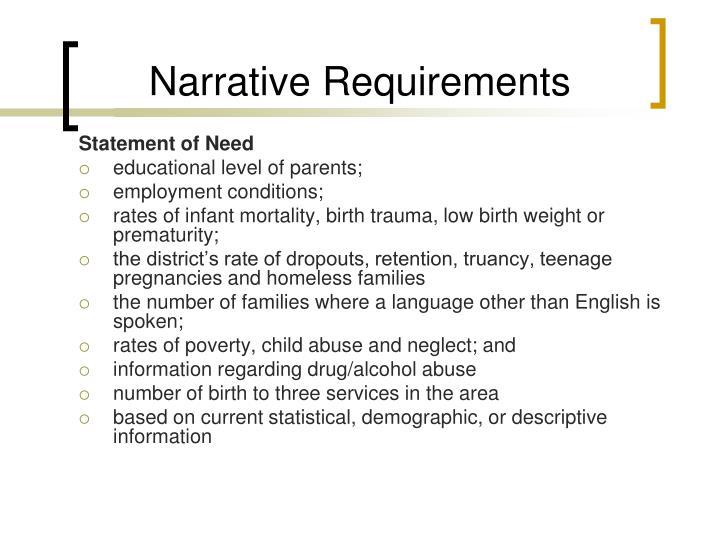 Narrative Requirements