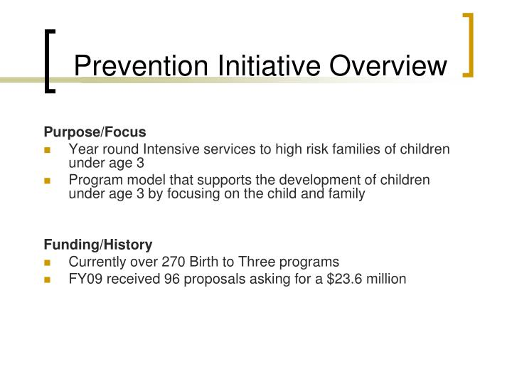 Prevention Initiative Overview