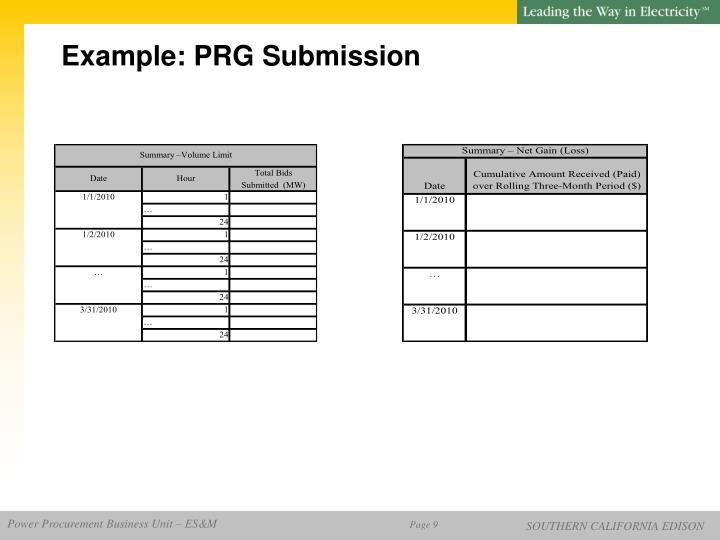 Example: PRG Submission