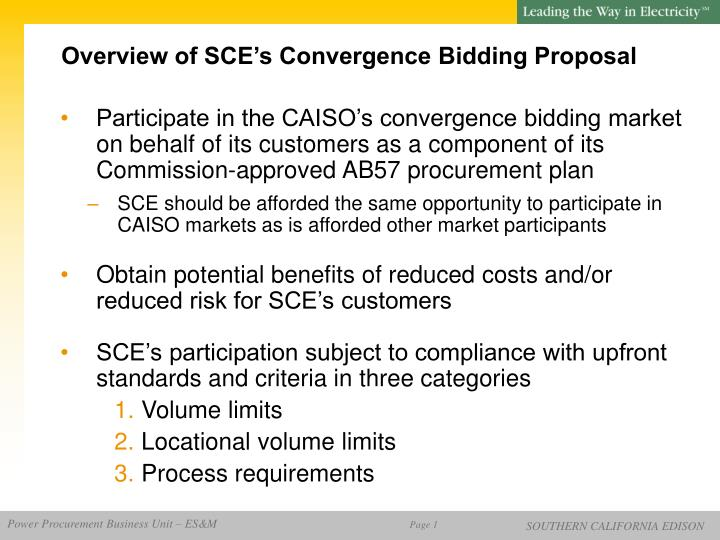 Overview of SCE's Convergence Bidding Proposal