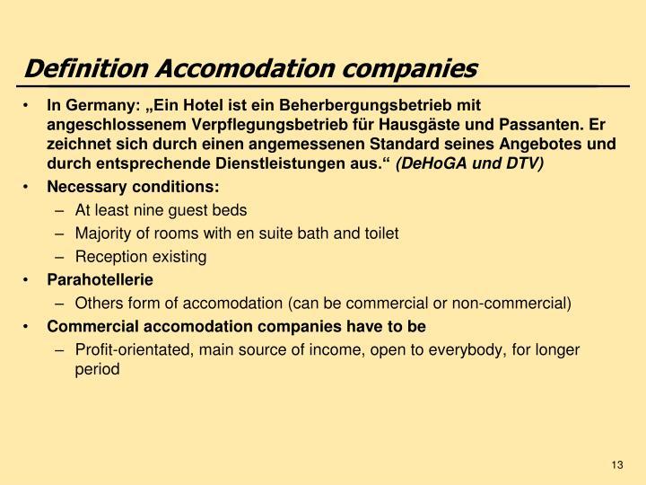 Definition Accomodation companies