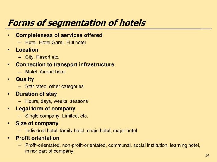 Forms of segmentation of hotels