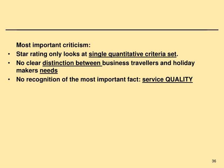 Most important criticism: