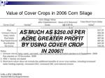 value of cover crops in 2006 corn silage1