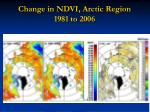 change in ndvi arctic region 1981 to 2006