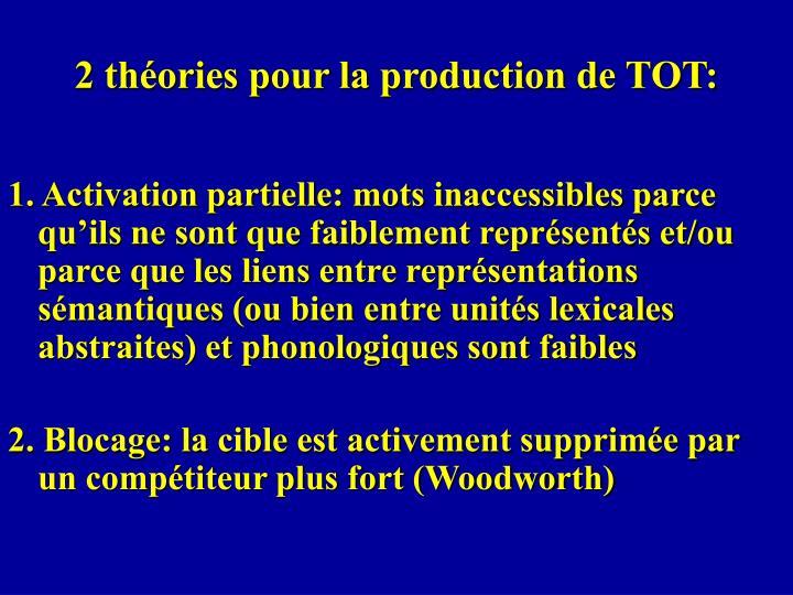 2 théories pour la production de TOT: