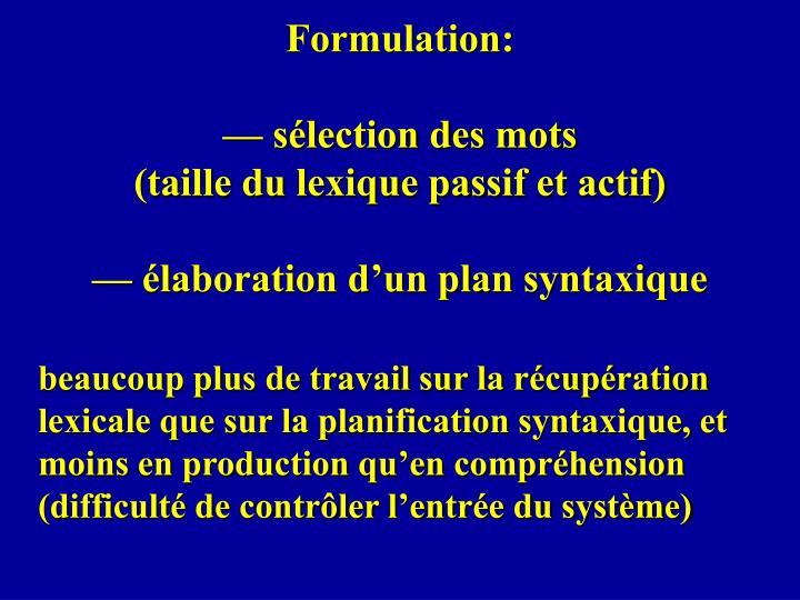 Formulation: