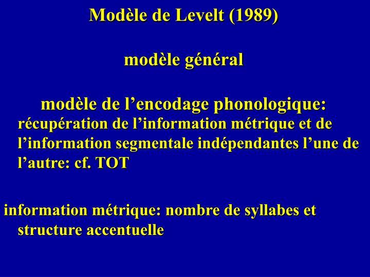 Modèle de Levelt (1989)