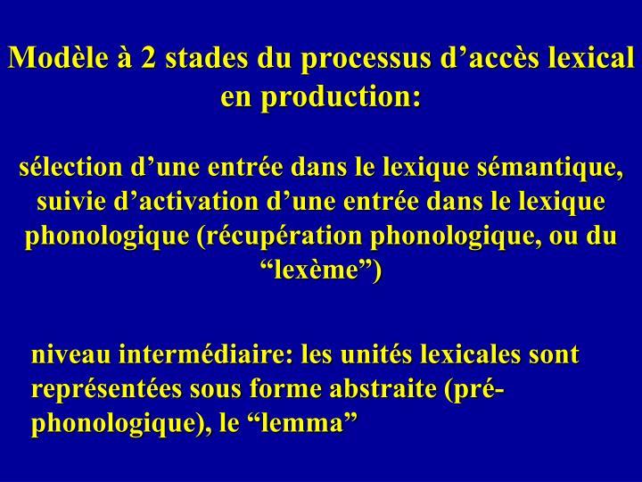 Modèle à 2 stades du processus d'accès lexical en production: