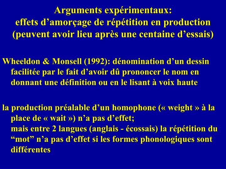 Arguments expérimentaux: