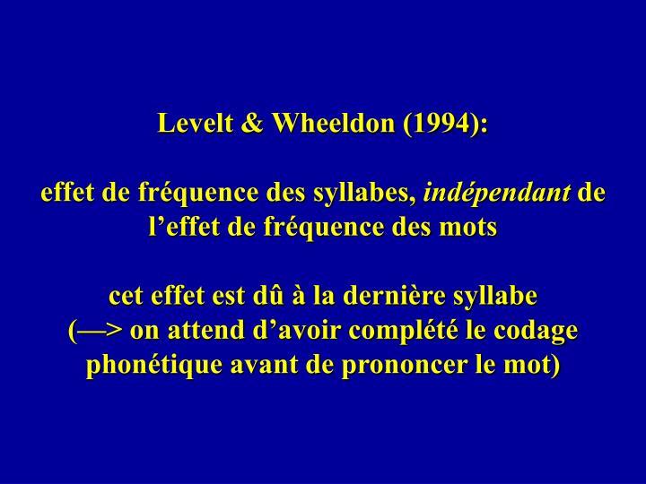 Levelt & Wheeldon (1994):