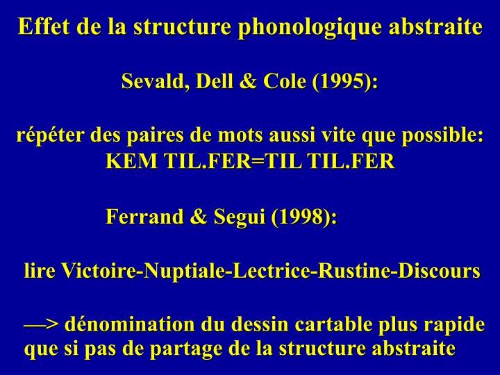 Effet de la structure phonologique abstraite