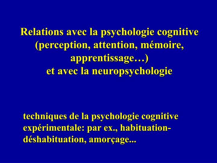 Relations avec la psychologie cognitive (perception, attention, mémoire, apprentissage…)