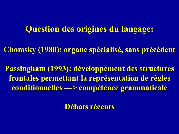 Question des origines du langage: