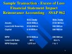 sample transaction excess of loss financial statement impact reinsurance accounting ssap 62