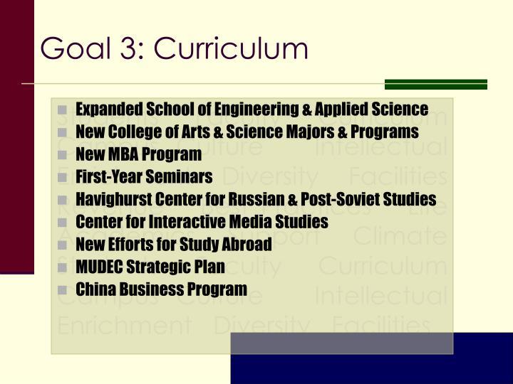Goal 3: Curriculum