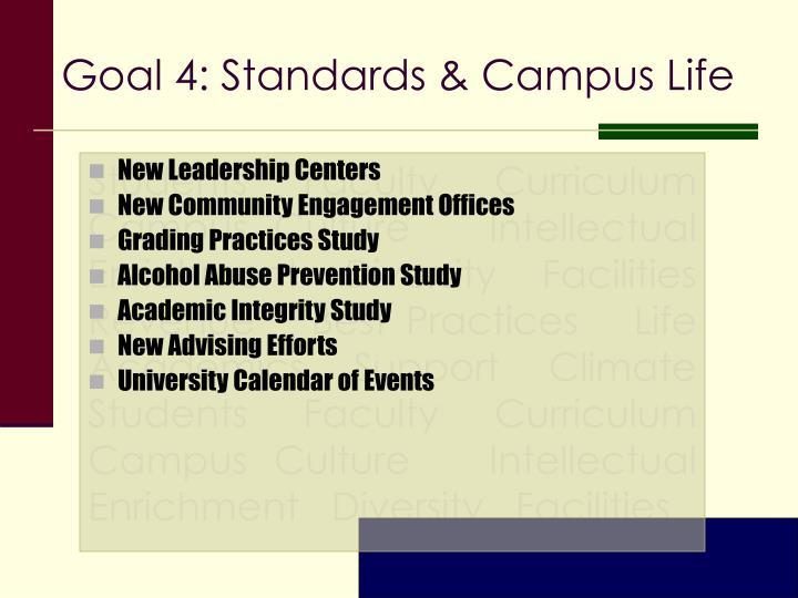 Goal 4: Standards & Campus Life