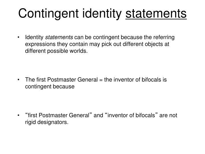 Contingent identity