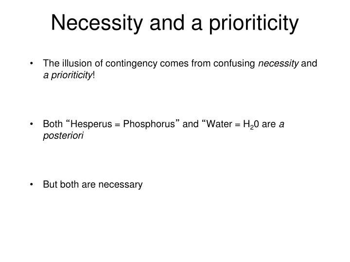 Necessity and a prioriticity