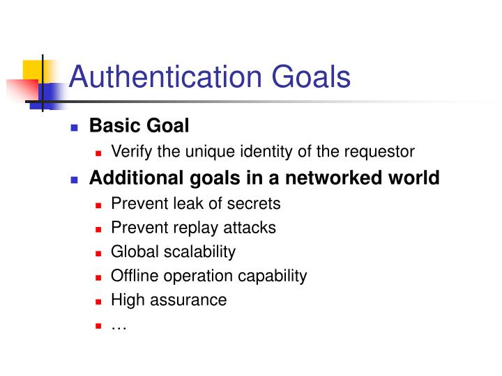 Authentication goals
