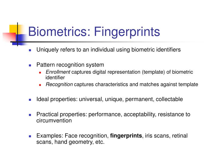 Biometrics: Fingerprints