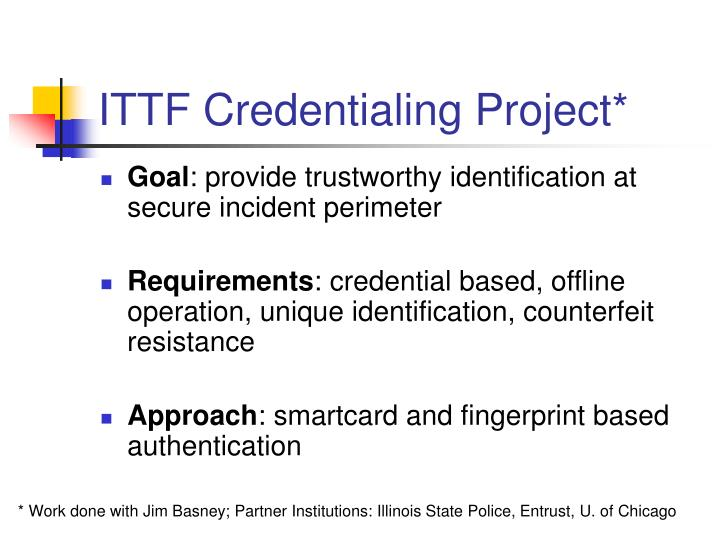 ITTF Credentialing Project*