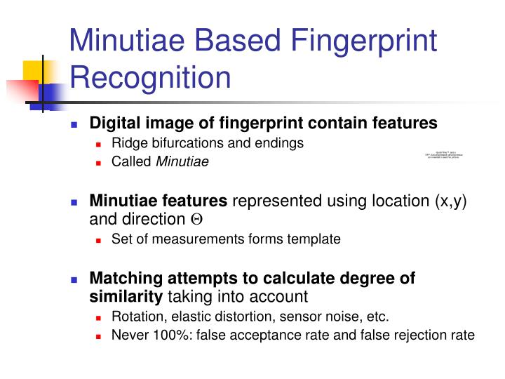 Minutiae Based Fingerprint Recognition