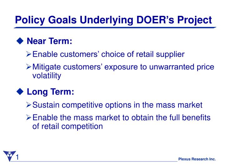 Policy Goals Underlying DOER's Project