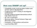how was sharp set up