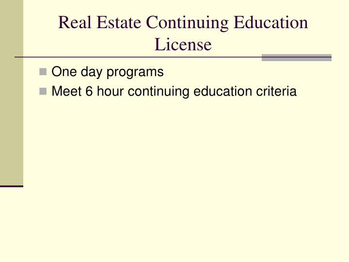 Real Estate Continuing Education License